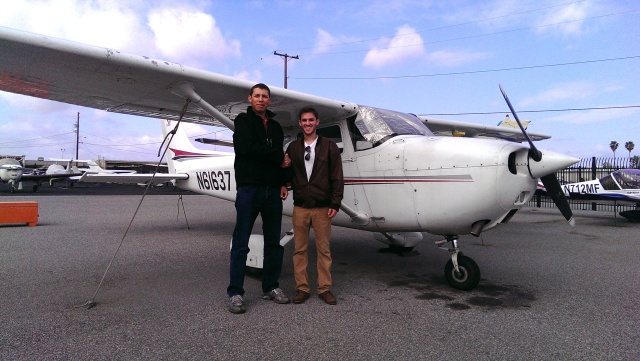 Adam and Mark outside Cessna 61637