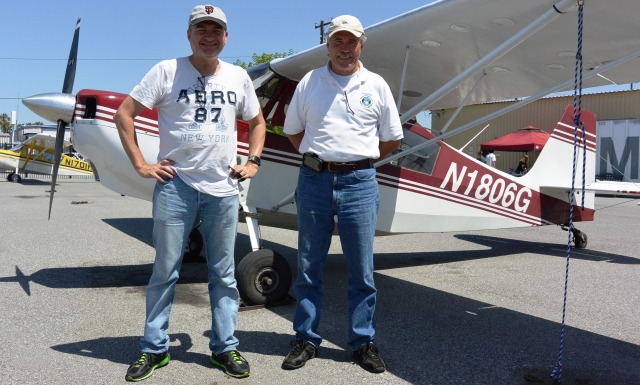 Chris Birrell (left) and Jim Grant and Citabria 1806G